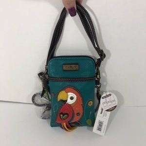 Chala Red Parrot Cell Phone Crossbody Purse